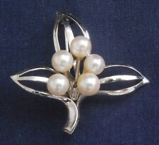 Manufactured Hand Assembled Leaf Pin Designer Cast Silver 5 Cultured Pearls