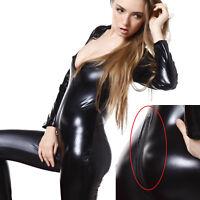 Graduation Sexy Ladies Catsuit Black Faux Leather Bodysuit Catwoman Cat Costume