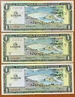 TO AUNC EL SALVADOR 1 COLON 18-JUN-80 CONSECUTIVE 506+505+504 SERIE EW VF+
