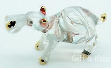 Figurine Glass Hippo Hippotamus No Painted w/ Painted Gold Trim - G-Hippo004