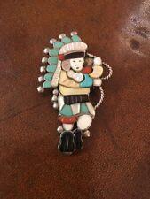 Multi Color Zuni Rainbow Man Inlay Turquoise Pin
