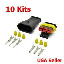 10 Kit 3 Pin Way Sealed Waterproof Electrical Wire Connector Plug Terminal Set