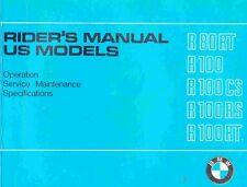 CD MANUALE USO-MANUTENZIONE OWNER'S MANUAL BMW R80 RT-R100 CS-RS-RT(EN) prm