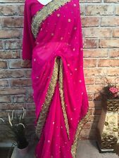 Saree Indian Georgette Gold stone beads Beautiful Party Sari Ready Blouse