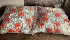 Holli Zollinger ELEPHANT WALKING Throw Pillows 20x20 Deny Designs White / Orange