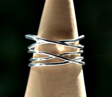 Sterling Silver 925 Wide Double Crossover 13mm Band Adjustable Ring Size N