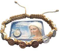 St. Saint Benedict Prayer Bracelet Adjustable Beige From Medjugorje + Holy Card