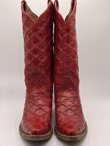 Nocona Women's Boot Red Fish Print NL7062 Woman's Cowboy Boots Free Shipping 8B