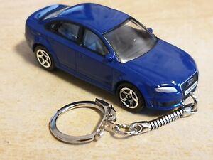 Diecast Audi RS4 Saloon Blue Toy Car Keyring FREEPOST