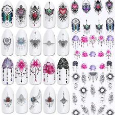 24X Black Flower Vine Nail Water Sticker Leaf Lace Design Slider Nail Art Decal