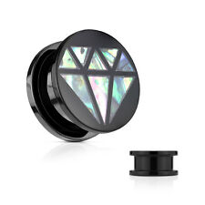 PAIR Diamond-Shaped Abalone Inlay Acrylic Screw Fit Plugs Tunnels Gauges Earlets