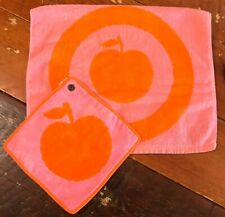 Vintage Towel Set Orange Pink APPLE DESIGN Hand towel & Washcloth Cotton JAPAN