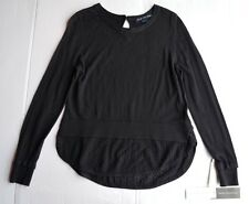 NEW French Connection Black Long Sleeve Cotton Blend Sweater Size L
