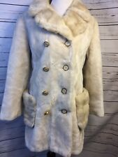 Vintage Plush BORGANA Coat Blonde Fawn Double Breasted Front Pockets Sz M