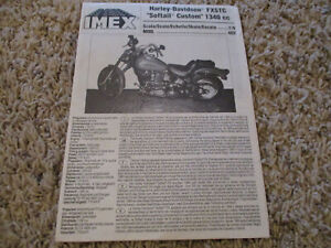 IMEX HARLEY FXSTC SOFTTAIL  MOTORCYCLE MODEL  1/9  INSTRUCTIONS ONLY