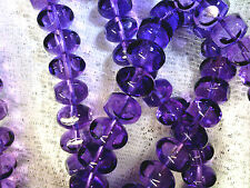 vtg 25 BIG PURPLE 4 CUT TRANSPARENT RONDELLE BEADS GLASS 8x12mm #062015k ARTSY