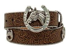 Ariat Western Girls Belt Kids Embossed Horsehead Concho Tan A1304608 Size 20