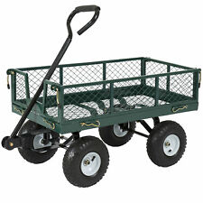 Best Choice Products Utility Cart Wagon Lawn Wheelbarrow Steel Trailer 400lbs