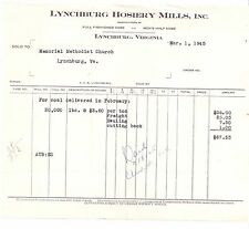 1945 LYNCHBURG HOSIERY MILLS Virginia MEMORIAL METHODIST CHURCH Coal Delivery