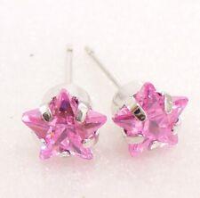 Zirconia Star Stud Earrings Uk Seller Women White Gold Plated 7mm Pink Cubic