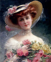 Oil painting Emile Vernon - Beautiful young girl holding flowers in landscape