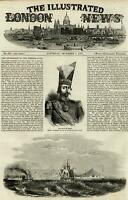 Shah of Persia Iran portrait Persian Gulf boat view 1856 ILN wood engraved print