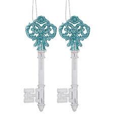 2 Pack 15cm Acrylic and Glitter Keys Christmas Tree Decoration - Glaçon Blue