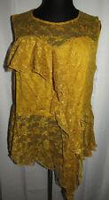 Ashley Stewart gold lace ruffled asymmetric top, Plus size 26/28