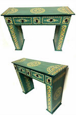 Moroccan Handpainted Wood Console Hall Table Arabesque Furniture Drawer Green