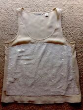 Country Road Beige With White Sequence Sleeveless Top Size XXS