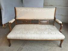 More details for antique,victorian,inlaid,wood frame,sofa,settee,cream fabric,castors,spade feet