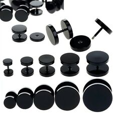 2pcs Mens Womens Round Black Barbell Punk Gothic Stainless Steel Stud Earrings