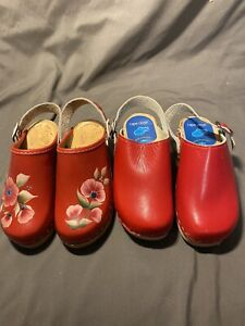 2 pair of Swedish Wooden Clogs Skane Toffeln & Cape Clogs Red Floral Painted 28