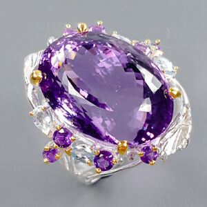 26x19 mm. IF 45 ct+ Amethyst Ring Silver 925 Sterling  Size 8 /R173239