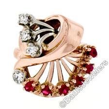 Vintage Retro 14K Rose White Gold .80ctw Round Ruby Diamond Unique Cocktail Ring