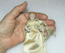 """Antique All Bisque Mignonette Sewing Pin Holder Vtg Jointed German 3 1/4"""" Doll"""