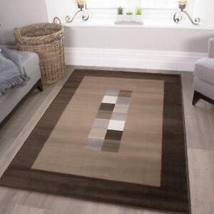 Soft Dark Chocolate Brown Living Room Rugs Thin Small Large Geometric Rug