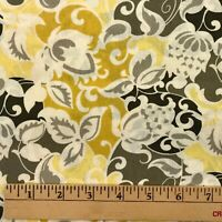 2.5 Yards Cotton Quilting Fabric Yellow Gray Floral Richloom