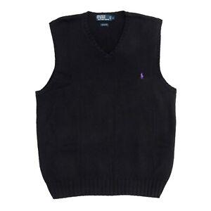 POLO Ralph Lauren Black Knit V Neck Sweater Vest, Men's Size Large L