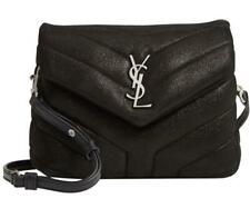 Saint Laurent Monogram Loulou Toy Glitter Black Suede Leather Cross Body Bag