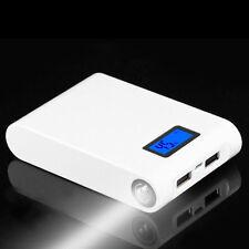 White-Power Bank Case Kit 4 X18650 Battery Charger LED Indicator Flashlight