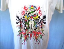 Ed Hardy Tattoo Art White 2XL T-Shirt Death Before Dishonor Cotton