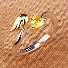 Anello misto Argento 925 Cristallo Cuore giallo 5mm Ala Oro Regolabile F5G