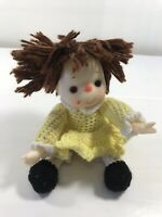 Vintage Doll Plastic Knit Clothing Collectible Yarn Hair Yellow Dress