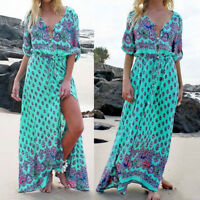 Women's Boho Half Sleeve Split Beach Holiday Sundress Casual Long Maxi Dress