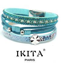 Luxus Leder Armband IKITA Paris  Ibiza Brasilien Magnetverschluss Strass Türkis