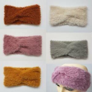 Women Girls Fluffy Twist Knot Winter Ear Warmer Double Sided Hair Head Band
