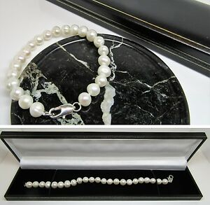 New pure white real freshwater pearl bracelet with lobster clasp in gift box