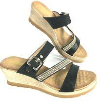 Good Choice Womens Black Gold Tan Rhinestone Monica Wedge Sandal Sz 8