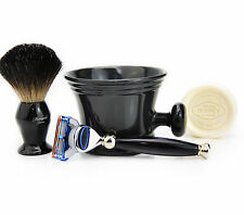Gillette Fusion RAZOR SHAVING SET + Badger Hair Shaving Brush & Mug GIFT SET